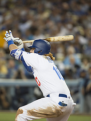 August 11, 2017 - Los Angeles, California, U.S - 11 Aug 2017. The Los Angeles Dodgers play the San Diego Padres in the first  game of a three-game series at Dodger Stadium. Pictured is Dodger Justin Turner avoiding a close pitch. (Credit Image: © Prensa Internacional via ZUMA Wire)
