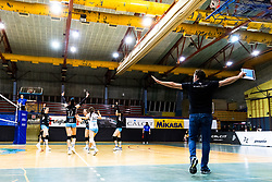 Players of Calcit Volley celebrate and Gregor Rozman, head coach of Calcit Volley during 3rd Leg Volleyball match between Calcit Volley and Nova KBM Maribor in Final of 1. DOL League 2020/21, on April 17, 2021 in Sportna dvorana, Kamnik, Slovenia. Photo by Matic Klansek Velej / Sportida