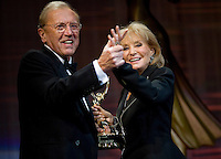 """Sir David Frost and Barbara Walters share a light moment onstage.  Sir Frost received """"The Founders Award"""" at the 2009 International Emmy Awards Gala hosted by the International Academy of Television Arts & Sciences in New York.  ***EXCLUSIVE***"""