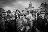 Men and boys before a village wrestling competition. Alaverdi. 2001