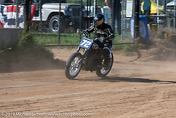 Hooligan flattracker Josh Young on his on his Harley-Davidson racer in the Spirit of Sturgis races at the fairgrounds during the Sturgis Black Hills Motorcycle Rally. Sturgis, SD, USA. Monday, August 5, 2019. Photography ©2019 Michael Lichter.