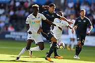 Tammy Abraham of Swansea city (l) challenges Matias Silvestre of Sampdoria. Swansea city v Sampdoria , pre-season friendly at the Liberty Stadium in Swansea, South Wales on Saturday August 5th 2017.<br /> pic by Andrew Orchard, Andrew Orchard sports photography.