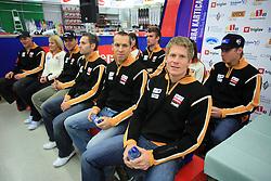 Sporn, Mihovilovic, Dragsic, Gorza, Valencic, Markic, Vajdic and Skube at press conference of Slovenian men and women alpine skiing national team before new season 2008/2009 in Hervis, City park, BTC, Ljubljana, Slovenia, on October 20, 2008.  (Photo by: Vid Ponikvar / Sportal Images).