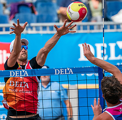 Robert Meeuwsen in action. The Final Day of the DELA NK Beach volleyball for men and women will be played in The Hague Beach Stadium on the beach of Scheveningen on 23 July 2020 in Zaandam.
