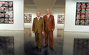 © Licensed to London News Pictures. 08/03/2012. London, UK. Photo call for 'London Pictures' by artists Gilbert and George at The White Cube Gallery in Bermondsey London today 08 March 2012. The body of work consists of 292 pictures and is the largest series by the duo to date. The exhibition runs until 12th May 2012 . Photo credit : Stephen SImpson/LNP