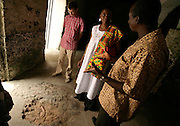 Leader of the House of Lords Baroness Valerie Amos listens to explanations from a tour guide as she visits the former slave fort of Elmina Castle in Elmina, Ghana, on Sunday Mar 4, 2007. Amos was visiting on the occasion of the 200th anniversary of the abolition of slave trade, which coincides with Ghana's 50th anniversary of independence.