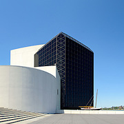 Panorama of the exterior of the John F. Kennedy Presidential Library and Museum on the waterfront in Dorchester in Boston, Massachusetts. Dedicated to the 35th president of the United States, the JFK Library is the official National Archves and Records Administration repository of the presidential records of John F. Kennedy.