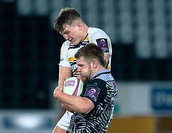 Olly Cracknell of Ospreys claims the lineout<br /> <br /> Photographer Simon King/Replay Images<br /> <br /> European Rugby Challenge Cup Round 5 - Ospreys v Worcester Warriors - Saturday 12th January 2019 - Liberty Stadium - Swansea<br /> <br /> World Copyright © Replay Images . All rights reserved. info@replayimages.co.uk - http://replayimages.co.uk
