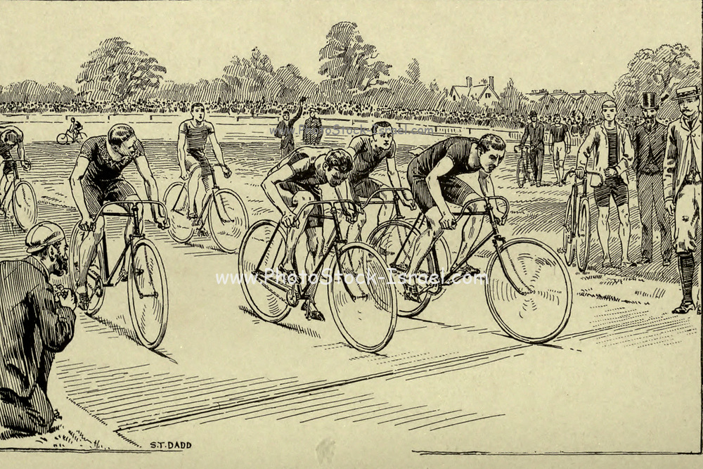 The finish line 19th century bicycle race from 'Cycling' by The right Hon. Earl of Albemarle, William Coutts Keppel, (1832-1894) and George Lacy Hillier (1856-1941); Joseph Pennell (1857-1926) Published by London and Bombay : Longmans, Green and co. in 1896. The Badminton Library