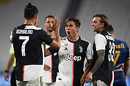 Juventus's Argentinian striker Paulo Dybala celebrates with Portuguese striker Cristiano Ronaldo and Italian midfielder Federico Bernardeschi during the Serie A match at Allianz Stadium, Turin. Picture date: 26th June 2020. Picture credit should read: Jonathan Moscrop/Sportimage