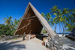 Woman visitor observing Halau, a reconstructed old Hawaiian A-frame work shed, Pu`uhonua o Honaunau or Place of Refuge National Historical Park, Honaunau, Big Island, Hawaii