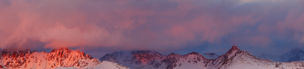 SUNSET LIGHT ON CLEARING STORM OVER THE GORE RANGE, WINTER, EAGLE'S NEST WILDERNESS, COLORADO
