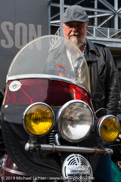 Brent Mayfield of Ohio with his restored 1945 Harley-Davidson EL Knucklehead at the Harley-Davidson Museum during the Cross Country Chase motorcycle endurance run from Sault Sainte Marie, MI to Key West, FL (for vintage bikes from 1930-1948). Stage 2 from Ludington, MI to Milwaukee, WI, USA. Saturday, September 7, 2019. Photography ©2019 Michael Lichter.