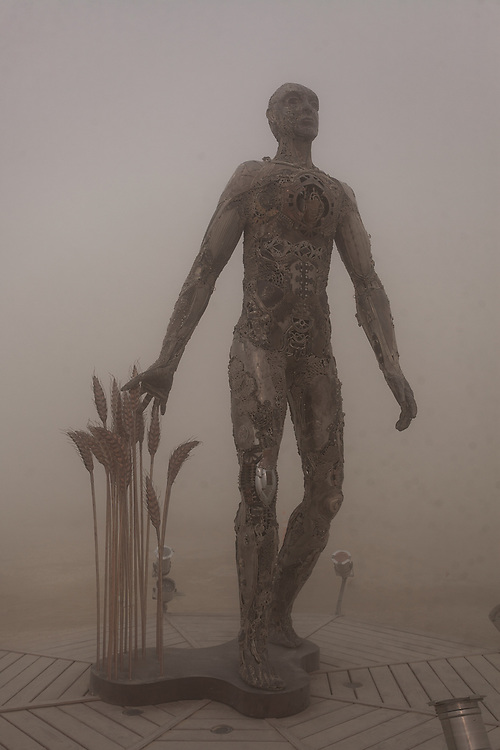 Passage by: Dana Albany from: San Francisco, CA year: 2018<br /> <br /> Passage is an installation of a man, in a captive gesture, leisurely walking while its hand sweeps through stalks of wheat. The sculpture clearly highlights characteristics of a human form; muscle, sinuous tendon, sculpted hands, feet. Yet, it's a composite of mechanical debris and steel. Viewers may hypothesize, is this a man? is it part robot? and what is the blurry fine-line between each? The other huge component is the presence of the wheat. It symbolizes abundance, life, fertility. It is food, subsistence, of which without, the human race would be extinct. Viewers can look closer at the inherent beauty of the human form, contemplate mechanics/technology or most importantly, be reminded of our absolute reliance on nature in the end. My Burning Man 2018 Photos:<br /> https://Duncan.co/Burning-Man-2018<br /> <br /> My Burning Man 2017 Photos:<br /> https://Duncan.co/Burning-Man-2017<br /> <br /> My Burning Man 2016 Photos:<br /> https://Duncan.co/Burning-Man-2016<br /> <br /> My Burning Man 2015 Photos:<br /> https://Duncan.co/Burning-Man-2015<br /> <br /> My Burning Man 2014 Photos:<br /> https://Duncan.co/Burning-Man-2014<br /> <br /> My Burning Man 2013 Photos:<br /> https://Duncan.co/Burning-Man-2013<br /> <br /> My Burning Man 2012 Photos:<br /> https://Duncan.co/Burning-Man-2012