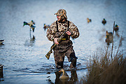 Vance Fielder wades to shore after resetting decoys while duck hunting at a private watershed lake in Shamrock, Oklahoma