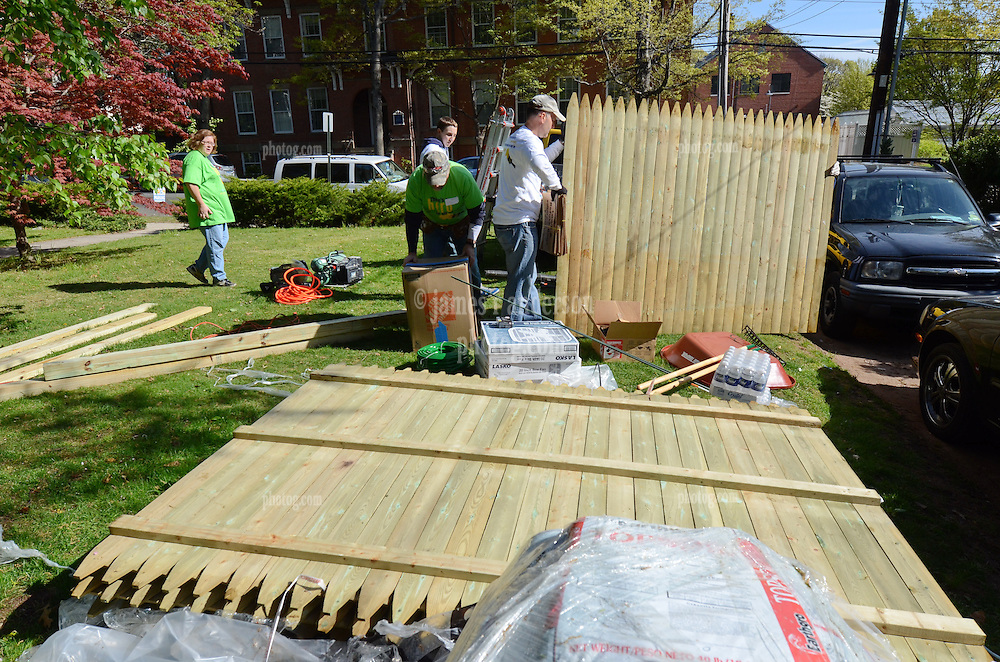 Group Activity with fencing - Wellpoint Community Service Day | New Haven CT