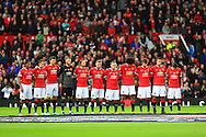Manchester United take part in a minute silence ahead of Remembrance Sunday - Manchester United vs. Crystal Palace - Barclay's Premier League - Old Trafford - Manchester - 08/11/2014 Pic Philip Oldham/Sportimage