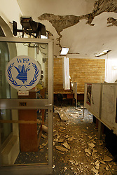 A destroyed World Food Program office inside the Canal Hotel in Baghdad, Iraq on Aug. 21, 2003. Earlier in the week a cement truck packed with explosives detonated outside the offices of the UN headquarters in Baghdad, Iraq, killing 20 people and devastating the facility in an unprecedented suicide attack against the world body. At least 100 people were wounded.