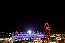 © Licensed to London News Pictures. 12/08/2012. LONDON, UK. The Olympic Stadium and ArcelorMittal Orbit are seen during the closing ceremony of the 2012 Summer Olympics in London today (12/08/12). The Games of the 30th Olympiad today come to a close in London after two weeks of athletics and sports competition carried out by 204 countries from around the world. Photo credit: Matt Cetti-Roberts/LNP