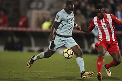 November 25, 2017 - Aves, Guimaraes, Portugal - Porto's Cameroonian forward Vincent Aboubakar (L) with Avess Player midfielder Carlos Ponck (R) during the Premier League 2017/18 match between CD Aves vs FC Porto at the Aves stadium in Vila das Aves on November 25, 2017. (Credit Image: © Dpi/NurPhoto via ZUMA Press)