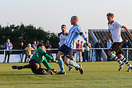 Sam Blundell of Worthing scores to put his side 2-1 up during the FA Vase 1st Qualifying Round match between Worthing United and East Preston FC at the Robert Eaton Memorial Ground, Worthing, United Kingdom on 6 September 2015. Photo by Phil Duncan.