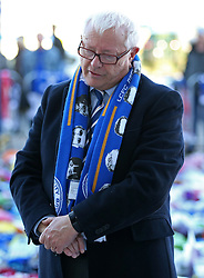 Leicestershire Police and Crime Commissioner Lord Bach looks at the tributes at Leicester City Football Club.