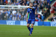 Aron Gunnarsson of Cardiff city makes a point. EFL Skybet championship match, Cardiff city v Sheffield Wednesday at the Cardiff City Stadium in Cardiff, South Wales on Saturday 16th September 2017.<br /> pic by Andrew Orchard, Andrew Orchard sports photography.
