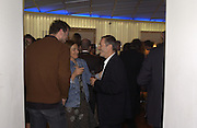 Wolfgang Tillmans, Terry and Trisha Jones. I.D. magazine dinner for John Dempsey of Mac cosmetics, Fifth floor restaurant, Harvey Nichols. 17 December 2002. © Copyright Photograph by Dafydd Jones 66 Stockwell Park Rd. London SW9 0DA Tel 020 7733 0108 www.dafjones.com
