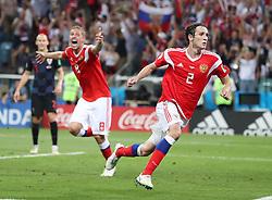 SOCHI, July 7, 2018  Mario Fernandes (R) of Russia celebrates scoring during the 2018 FIFA World Cup quarter-final match between Russia and Croatia in Sochi, Russia, July 7, 2018. Croatia won 6-5 (4-3 in penalty shootout) and advanced to the semi-finals. (Credit Image: © Yang Lei/Xinhua via ZUMA Wire)