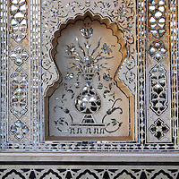 Asia, India, Amer. Detail of Sheesh Mahal, Amber Palace.