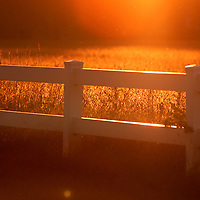 (DAYIN)  Colts Neck 10/4/2001  The sun sets behind the fence line and and a field of grass adjacent to the  4th Green fields farm on Brookview Rd.      Michael J. Treola Staff Photographer...MJT