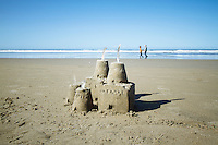 Sand castle at beach.