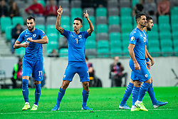 Eran Zahavi of Israel with teammates during the 2020 UEFA European Championships group G qualifying match between Slovenia and Israel at SRC Stozice on September 9, 2019 in Ljubljana, Slovenia. Photo by Grega Valancic / Sportida