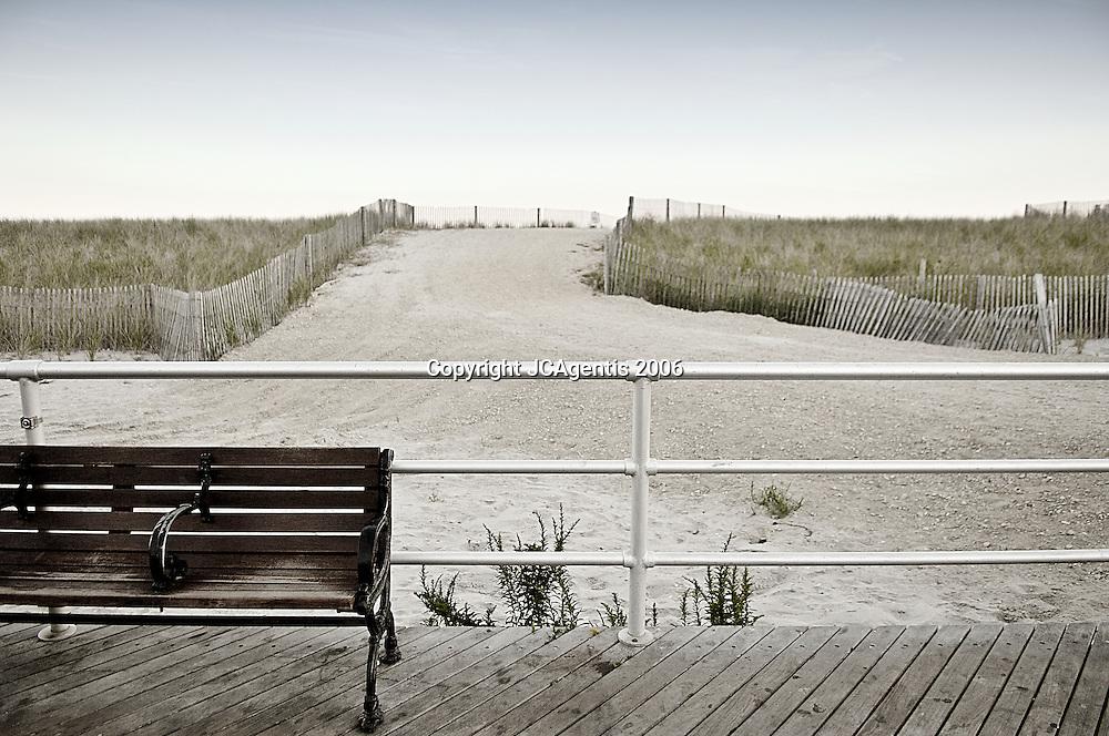 Atlantic City Boardwalk Bench with no people. Atlantic City New Jersey, 2007.