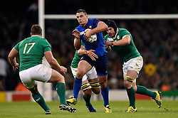 Louis Picamoles of France takes on the Ireland defence - Mandatory byline: Patrick Khachfe/JMP - 07966 386802 - 11/10/2015 - RUGBY UNION - Millennium Stadium - Cardiff, Wales - France v Ireland - Rugby World Cup 2015 Pool D.