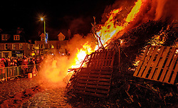 Biggar Scotland - 31st December 2016 <br /> The hogmanay bonfire in Biggar's High Street lit at 9.30pm to burn out the old and burn in the new year.. Probably the biggest hogmanay bonfire anywhere in Britain.<br /> <br /> (c) Andrew Wilson   Edinburgh Elite media
