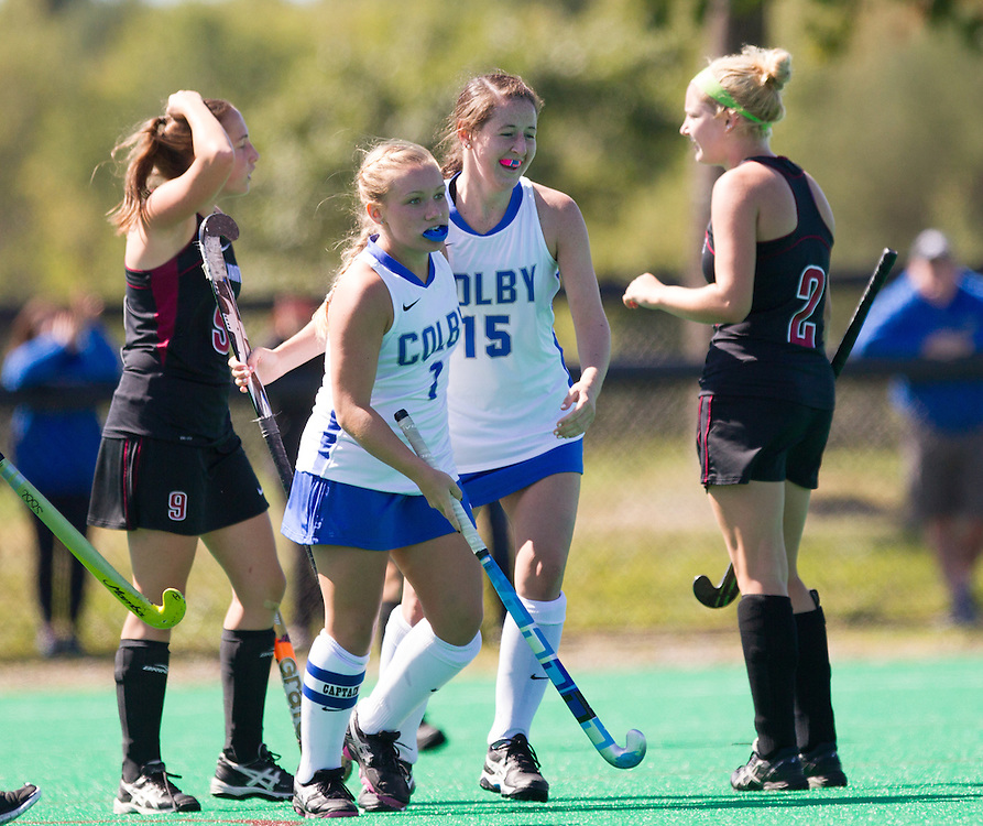 Kaitlyn O'Connell and Meghan Murray, of Colby College, in a NCAA Division III field hockey game on September 14, 2014 in Waterville, ME. (Dustin Satloff/Colby College Athletics)
