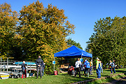 Chiswick, Greater London, UK., 11th October 2020, Pairs Head of the River Race, Organisers tent, meeting and registration area, Restricted entry and Shortened Course, COVID-19,  Barnes Bridge and Dukes Meadows location, [Mandatory Credit:Peter Spurrier/Intersport Images]