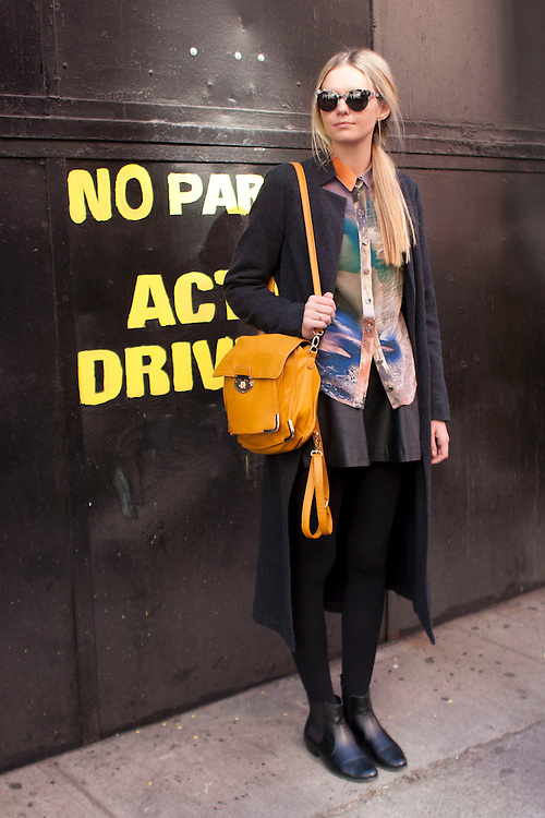 Blogger Jessica Stein of Tuula wears Sara Phillips during day four at AW 2012 New York Fashion Week, NY, USA. February 13, 2012.