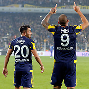 Fenerbahce's Fernandao (R) and Volkan Sen (L) during their Turkish super league soccer match Fenerbahce between Torku Konyaspor at the Sukru Saracaoglu stadium in Istanbul Turkey on Sunday 08 November 2015. Photo by Kurtulus YILMAZ/TURKPIX