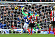 Idrissa Gueye of Everton shoots and scores his teams 1st goal. Premier league match, Everton v Sunderland at Goodison Park in Liverpool, Merseyside on Saturday 25th February 2017.<br /> pic by Chris Stading, Andrew Orchard sports photography.