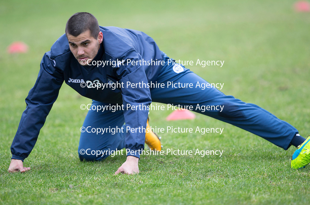 Trialist Plamen Krachunov pictured during training this morning at McDiarmid Park<br />Picture by Graeme Hart.<br />Copyright Perthshire Picture Agency<br />Tel: 01738 623350  Mobile: 07990 594431