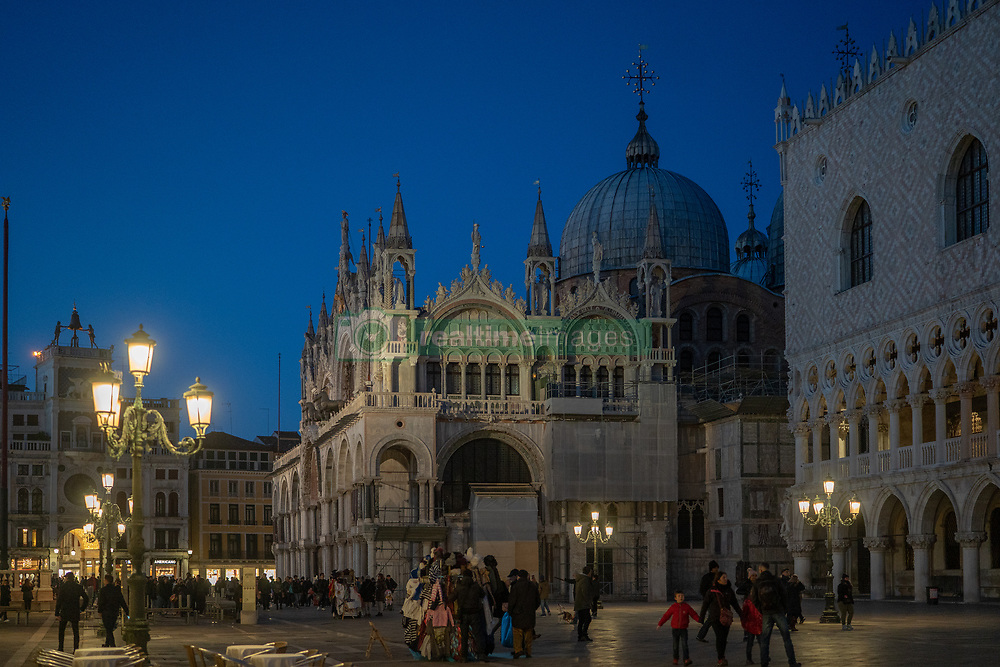 A view of St Mark's Basilica at night in Venice. From a series of travel photos in Italy. Photo date: Tuesday, February 12, 2019. Photo credit should read: Richard Gray/EMPICS
