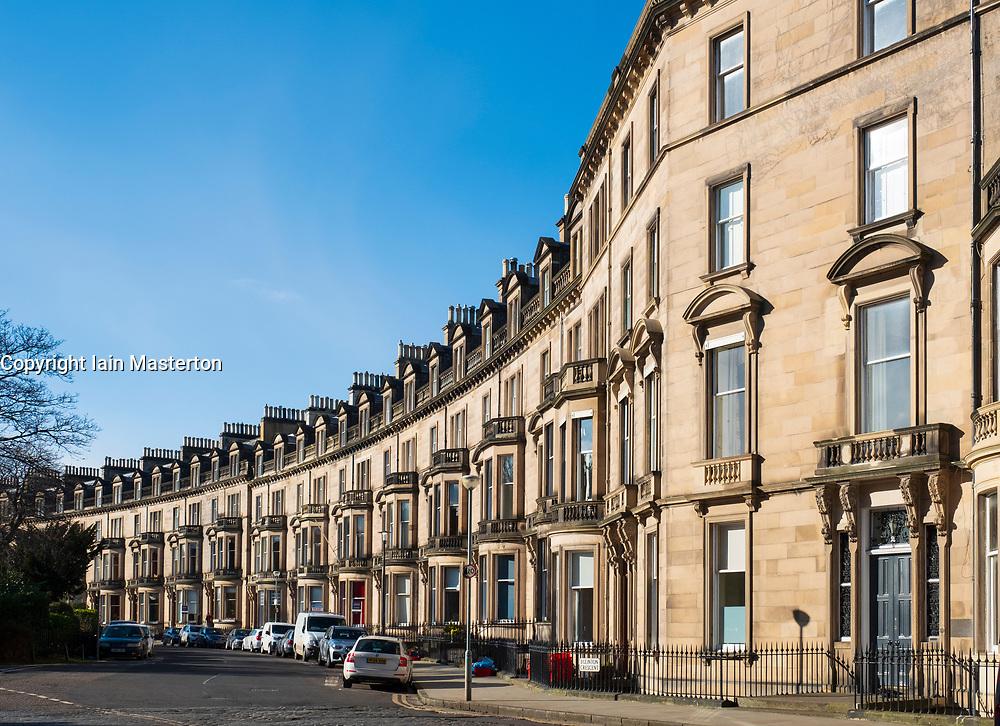 Terraced townhouses at Eglinton crescent in Edinburgh West End , Scotland UK