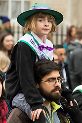 © Licensed to London News Pictures. 04/03/2018. London, UK. A young supporter take part in the #March4Women rally calling for gender equality. Photo credit: Ray Tang/LNP