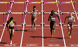 Great Britain's Alicia Barrett (second left) competes in the Women's 100m Hurdles heats during day eight of the 2017 IAAF World Championships at the London Stadium.