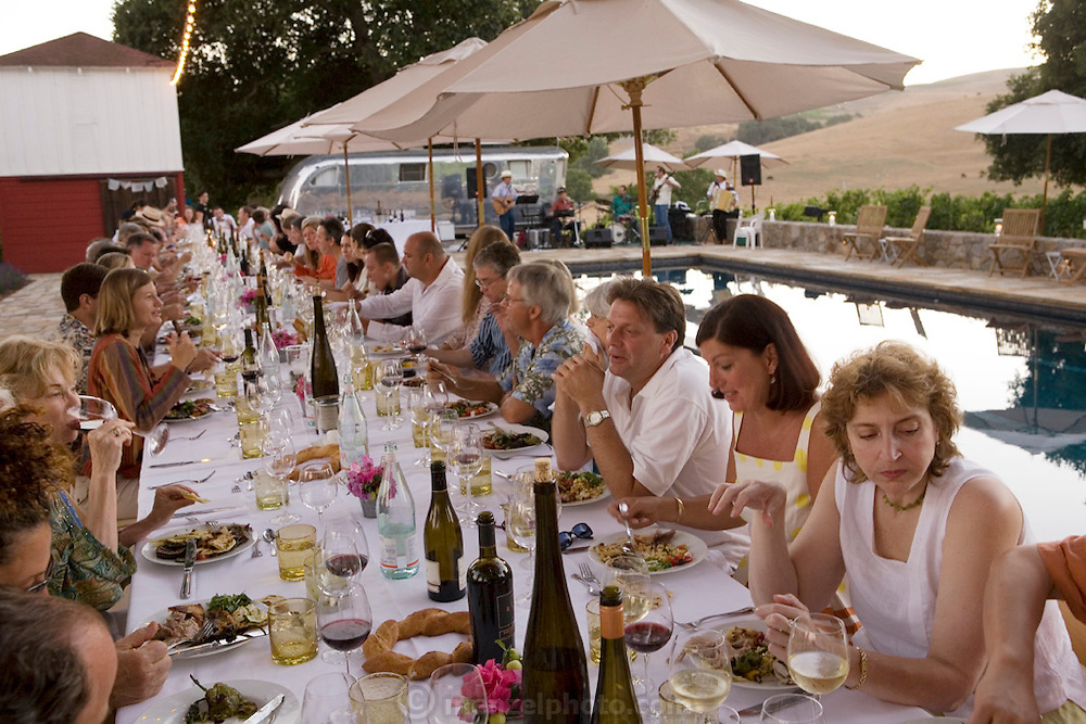 Dinner at Rob and Maria Sinsky's home in the Napa Valley, California.