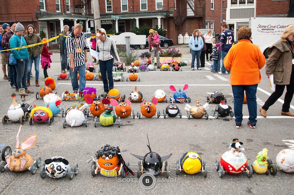 """Damariscotta, Maine Pumpkinfest weeklong festival of pumpkins! Kids get to design and fashion their own pumpkin 'racer""""!"""
