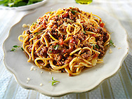 spaghetti pasta with a Bolognese sauce