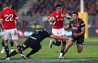 Rugby Union - 2017 British & Irish Lions Tour of New Zealand - Crusaders vs. British & Irish Lions<br /> <br /> Anthony Watson of The British and Irish Lions is stopped by Joe Moody of The Crusaders at AMI Stadium [Rugby League Park], Christchurch.<br /> <br /> COLORSPORT/LYNNE CAMERON